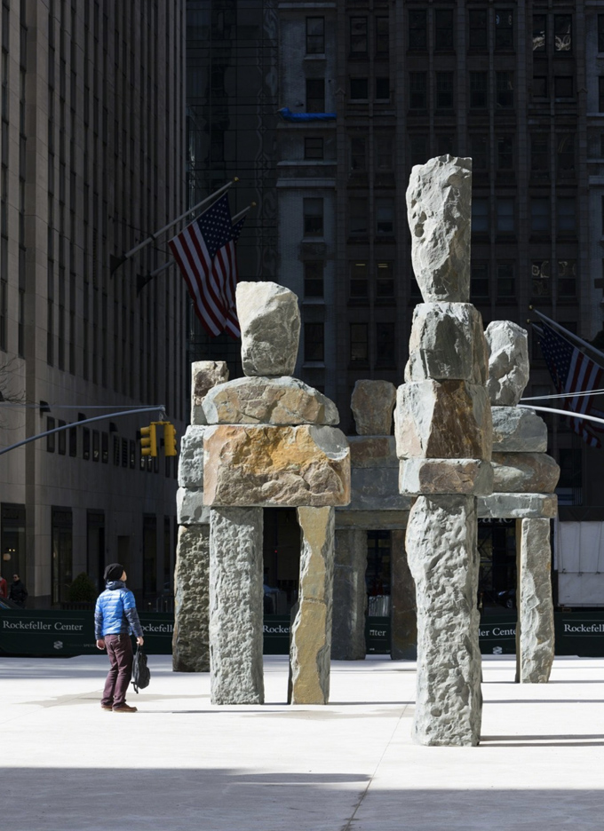 Ugo Rondinone's Human Nature art installation at Rockefeller Center in NYC.