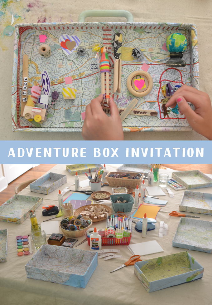Kids use their imaginations to create adventure boxes with maps and a materials table. A wonderful creative invitation.