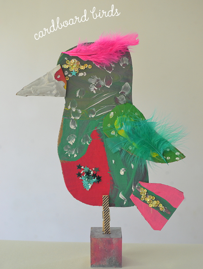 Cardboard Bird Sculptures