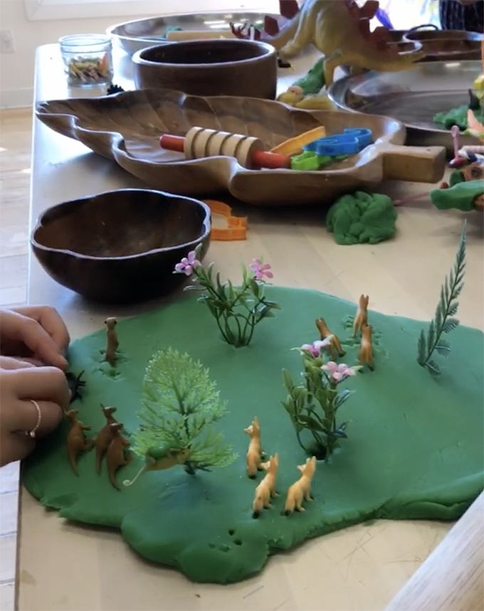 Are you and your kids quarantined at home because of the coronavirus? Well this Art and Play guide will help! Promoting math, literacy and science through art and play. Day 4: Playdough Landscapes
