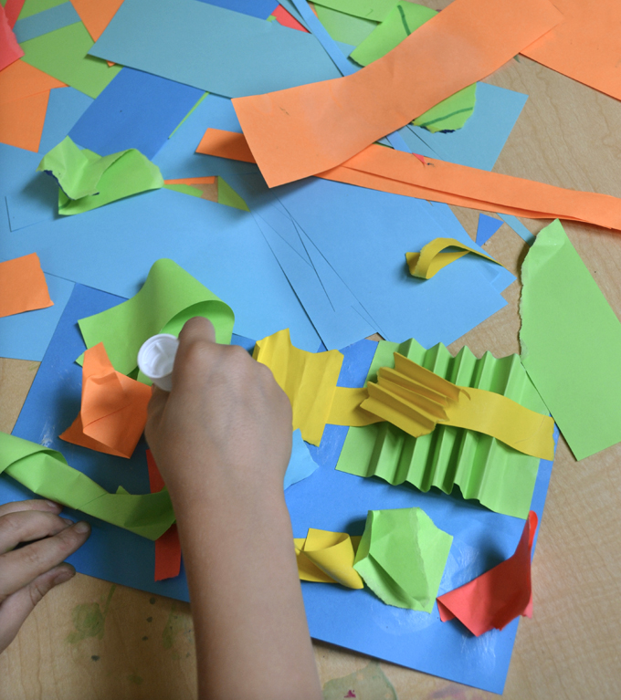Learning at home with your kids because of the coronavirus? This Art and Play guide will help. Promoting math, literacy and science through art and play. Day 2: Paper Sculpture Collage