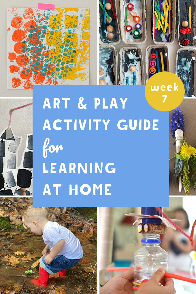 This Weekly Art & Play guide for learning at home promotes math, literacy and science through creativity. Join us for Provocations week!