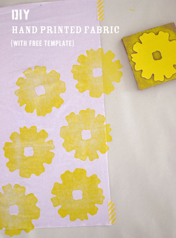 Hand Stamped Fabric with homemade stamp and free template.