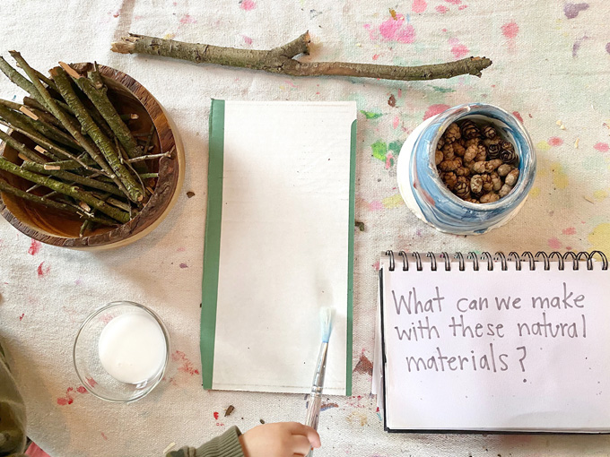 This Weekly Art & Play guide for learning at home promotes math, literacy and science through creativity. Join us for Provocations week! Day 1: Build with Nature / Science
