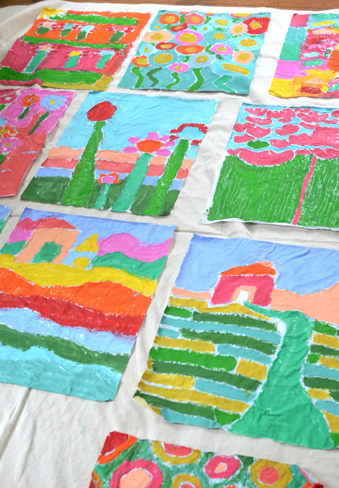 Kids paint with glue on fabric to make batik art, inspired by artist Anna Blatman.