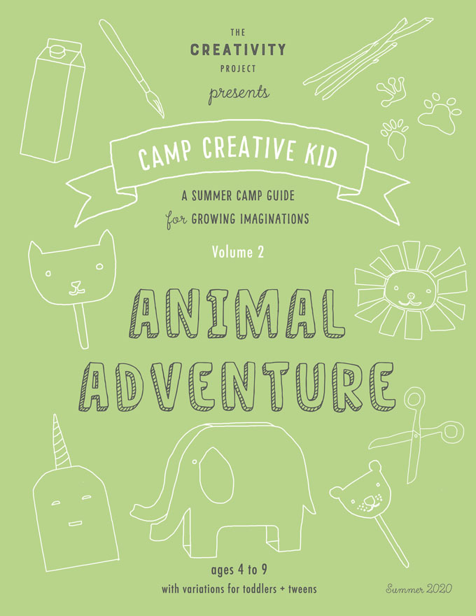 "Summer Art Camp at Home, download ""Animal Adventure"" and print, 26 pages with 20 original creative ideas, for kids ages 3-9 with variations for toddlers and tweens."