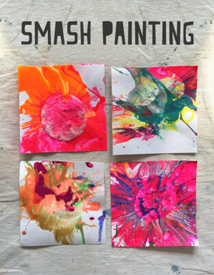 Kids use cotton rounds, mallets and paint to make mini smash paintings.