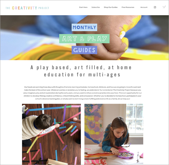 Art and Play Learning Guide for September 2020, from The Creativity Project.