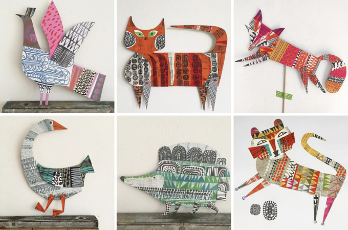Kids study artist Clare Youngs and make cardboard animals from cereal boxes.
