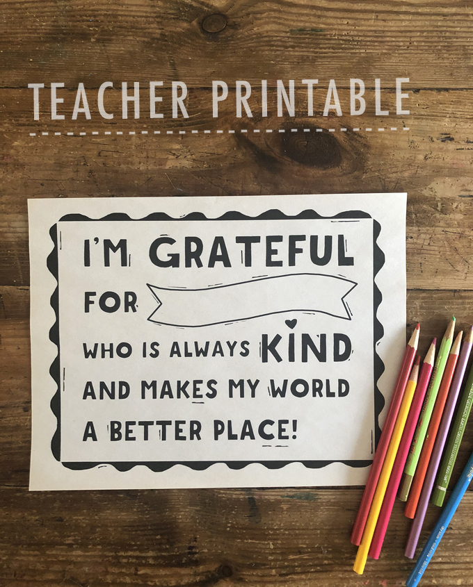 Grateful for Teacher / Printable