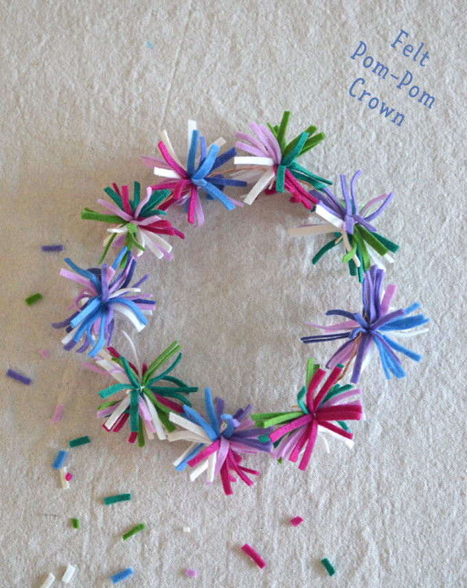 Make pom-poms from small strips of felt, then tie to wire to make a crown.
