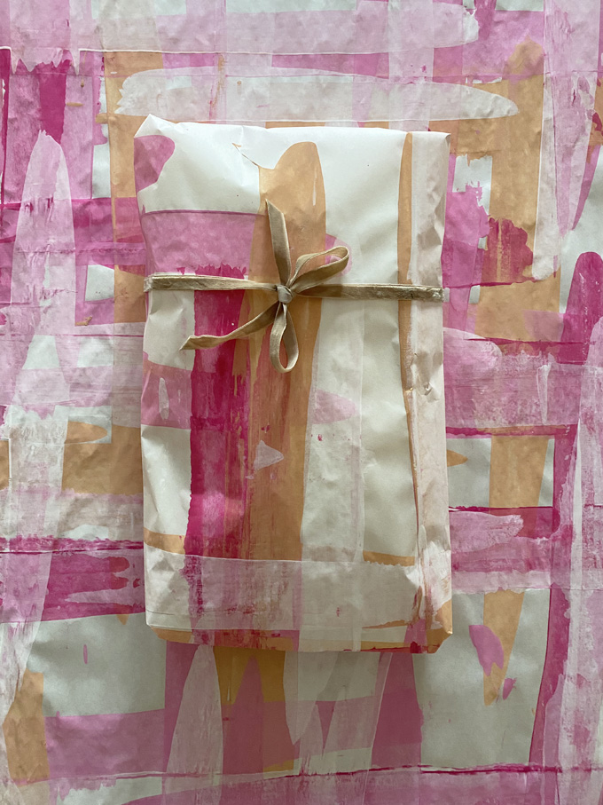 Make your own wrapping paper with butcher paper and tempera paint or watercolors! It's quick and easy and so gorgeous.