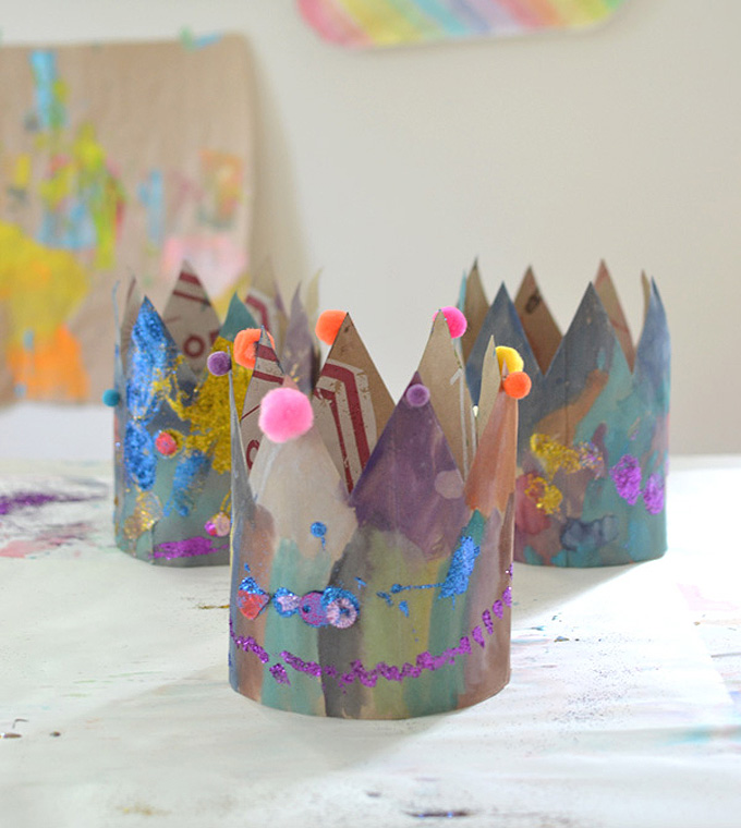Recycled Paper Bag Crowns