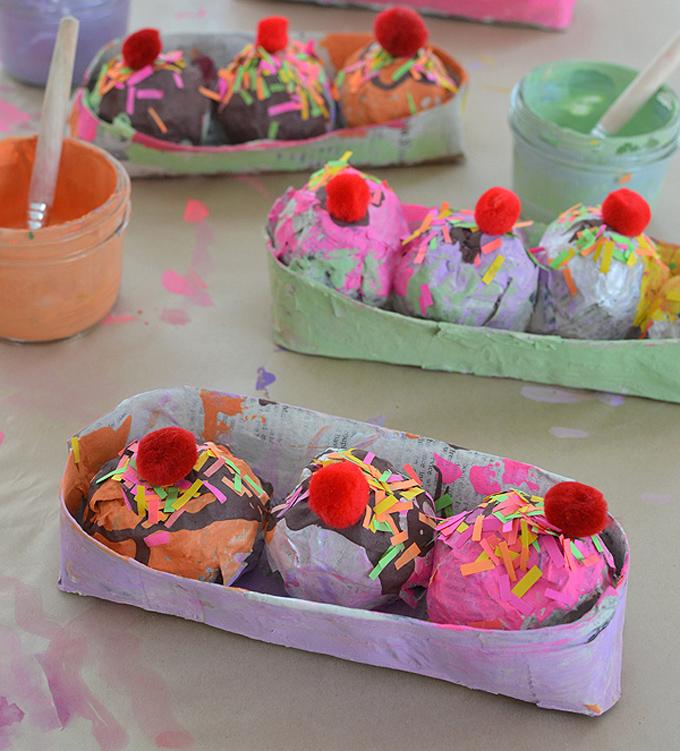 Make paper mâché ice cream sundaes with kids.