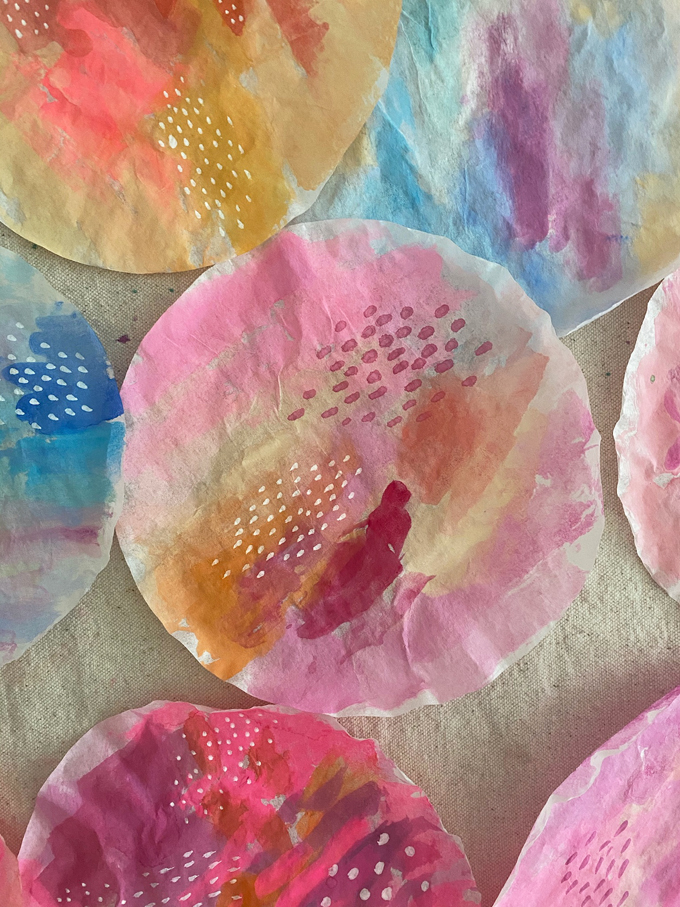 Make a wall hanging from coffee filters and watercolors. Perfect process art activity for any age, preschool to 100!