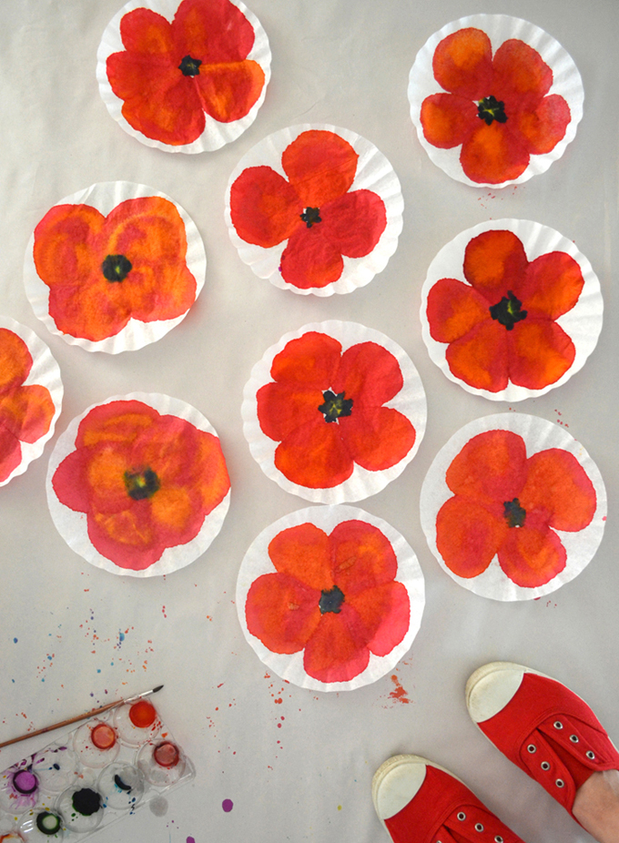 Poppy Painting with Coffee Filters
