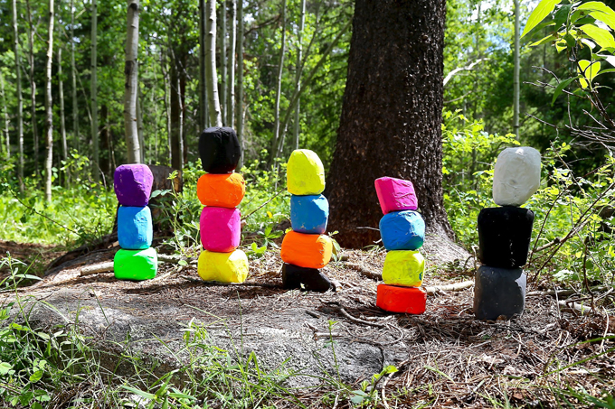 Paper mache sculptures made by kids inspired by Ugo Rondinone