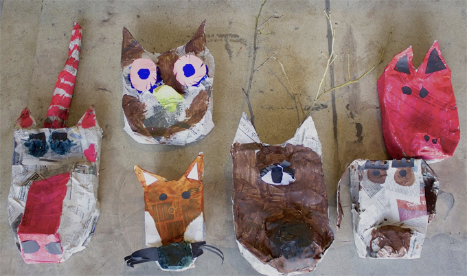 DIY paper mache animal head project for kids of all ages.