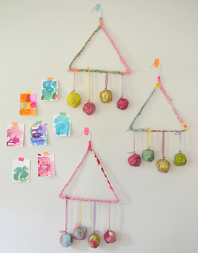 Simple first paper mache project for kids: Make a mobile.