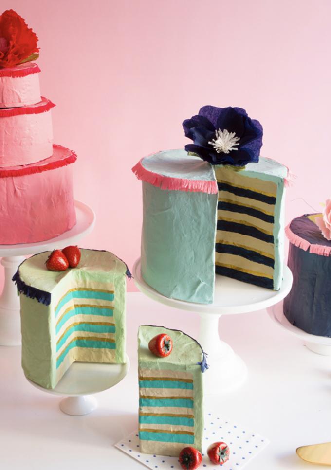 DIY paper mache fancy cakes.