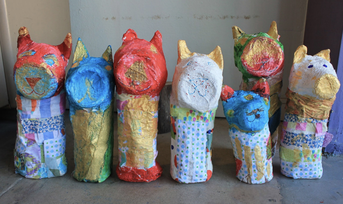 Paper mache cat mummy project to make with kids