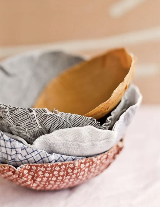 Try fabric mache instead of paper mache with these bowls