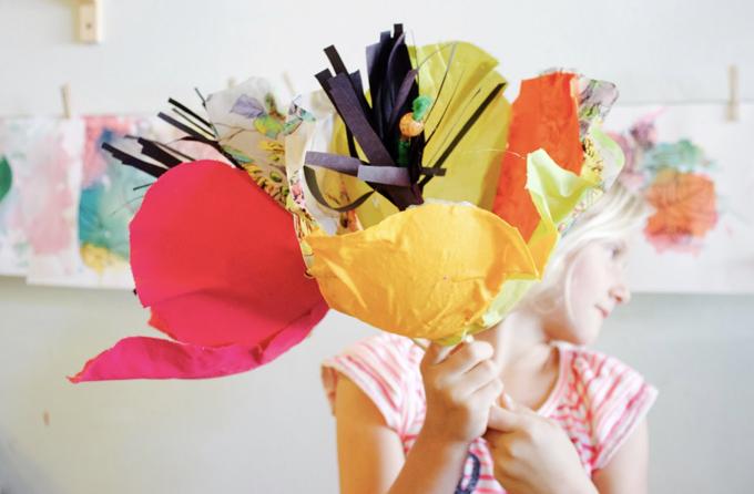 Giant paper mache fabric flowers DIY.