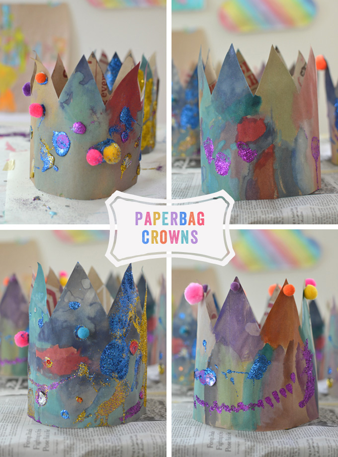 Paper Bag Crowns made by kids.